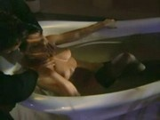 horny housewife fucking very hardly in bathtub