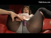 Mature Lady With High Heels And Pantyhose Getting Her Pussy Stimulated With Vibrator By Younger Guy