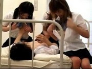 3 Schoolgirls In Uniform Sucking Guy Cock Rubbing With Tits On Of Them Riding On Him In The Hospital
