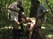 French amateur Erika in a outdoor gangbang
