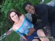 Young whore gets black rod in both holes