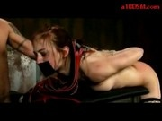 Girl In Stockings Tied On Bench In Doggy Whipped Getting Her Mouth Pussy Fucked In The Dungeon