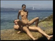 Olivia de Treville on the beach
