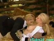 Horny lesbians licking pussy in horse stable