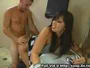 Brunette MILF Bathroom Bang