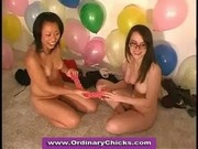 Lesbian coeds having fun at truth or dare dildo party