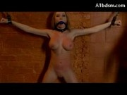 Busty Blonde Chained To Wall Mouthgag Nipple Clips Whipped Pussy Stimulated With Vibrator By Master