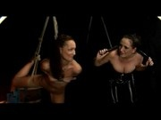 Slim Girl Standing On One Leg Breast Bondage Whipped By Mistress