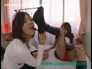 Sexy Asian Lesbian Licks Boots Of Slutty Friend