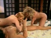 Two incredible big tit blondes get their pussies stretched