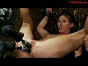 Girl With Tied Arms And Legs Getting Her Pussy And Asshole Fucked With Fucksaws While Clit Stimulate