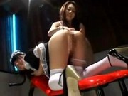 Girl In Maid Dress Getting Enemas And Gesa Balls To Ass On The Chair