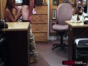 Busty woman gets owned by pawnshop owner into having sex in his office