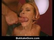 Messy cumplay with jizz soaked bukkake girl