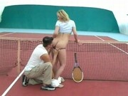 Cute teen sex in tennis court