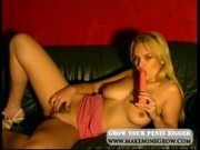 Blondie with pink dildo