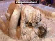 Louisa and Nikita mud wrestling
