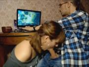 Girlfriend giving head while her boyfriend is playing Dota