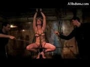 Girl Sitting On Dildo Bondaged Breast And Legs Flushed With Water Paddles By 2 Guys In The Dungeon