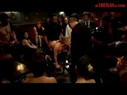 Blonde Girl Tied In Doggy Fucked By Many Guys Cums To Mouth And To Ass In The Club