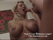 Norma Huge tited blonde gets both holes checked