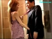 Cute Girl Giving Blowjob For Guy Licked On The Floor In The Public Toilette