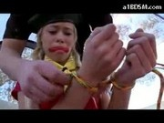 Blonde Scout Girl Mouthgagged Getting Bondaged Fingered In The Booth
