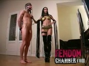 German dominatrix trains her male slave