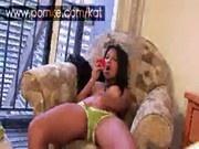 Kat playing with her vibrating beads panties