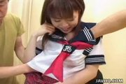 Shy japanese schoolgirl gets fucked had by horny men