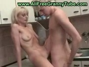 blonde mom son kitchen 00