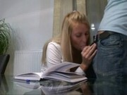 Horny blonde secretary sucking
