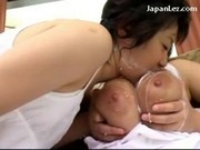 Slim Girl Sucking Busty Girls Nipples Spitting Milk Licking Pussy On The Couch