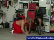 Glamorous mistresses gets pussy licked by submissive car mechanic
