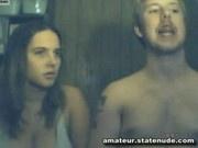 Guy fucks busty girlfriend on webcam