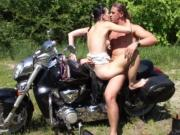 Girl gets fucked after riding motorcycle