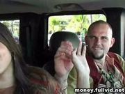 Brunette blowjob in backseat