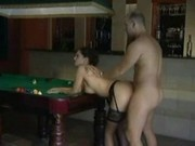 Hot brunette fuck on pool table