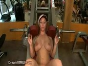 Blonde MILF gym BJ