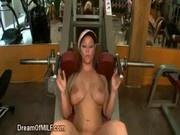 Blonde MILF gym BJ