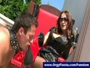 Slave worships beautiful but strict mistress