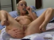 Horny Blonde Fingers And Fucks Herself With A Dildo