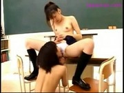 Schoolgirl In Skirt Kissing Getting Her Nipples Sucked Pussy Licked Fingered On The Desk In The Clas