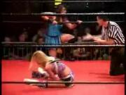 Cheerleader Melissa vs Daizee Haze - steel barrier match - shimmer