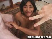 Boobsy ebony slut on bukkake gangbang party