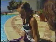 Petite young latina short pigtails by pool anal fuck one of