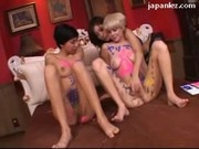 2 Girls Wtih Painted Bodies Get Pussies Fingered