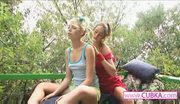 Lesbian teenies in forest masturbating