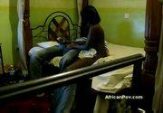 Tiny 18yo black swahili teen aisha gets big dick on spycam