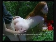 Redhead gets cumshot outdoors